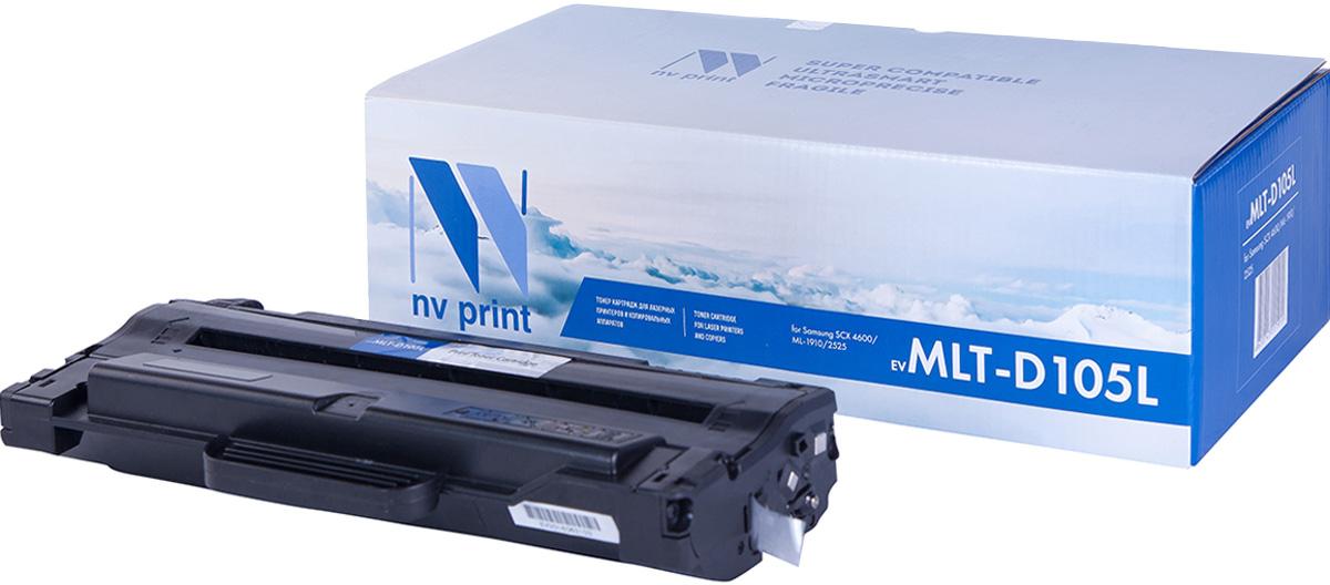 NV Print MLT-D105L, Black тонер-картридж для Samsung ML-1910/15/2525/2580N/SCX-4600/23MLT-D105LСовместимый лазерный картридж NV Print для печатающих устройств Samsung - это альтернатива приобретению оригинальных расходных материалов. При этом качество печати остается высоким. Картридж обеспечивает повышенную чёткость чёрного текста и плавность переходов оттенков серого цвета и полутонов, позволяет отображать мельчайшие детали изображения.Лазерные принтеры, копировальные аппараты и МФУ являются более выгодными в печати, чем струйные устройства, так как лазерных картриджей хватает на значительно большее количество отпечатков, чем обычных. Для печати в данном случае используются не чернила, а тонер.