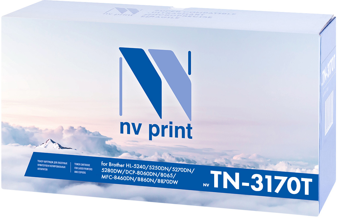 NV Print NV-TN3170, Black тонер-картридж для Brother HL-5240/5250DN/5270DN/5280DW/MFC8460N/8860DN/DCP8065DNNV-TN3170Совместимый лазерный картридж NV Print NV-TN3170 для печатающих устройств Brother - это альтернатива приобретению оригинальных расходных материалов. При этом качество печати остается высоким. Картридж обеспечивает повышенную чёткость чёрного текста и плавность переходов оттенков серого цвета и полутонов, позволяет отображать мельчайшие детали изображения.Лазерные принтеры, копировальные аппараты и МФУ являются более выгодными в печати, чем струйные устройства, так как лазерных картриджей хватает на значительно большее количество отпечатков, чем обычных. Для печати в данном случае используются не чернила, а тонер.