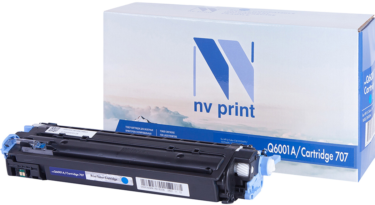NV Print Q6001A/CAN707C, Cyan тонер-картридж для HP Color LJ CM1015MFP/CM1017MFP1600/2600N/2605/Canon LBP 5000NV-Q6001A/CAN707CСовместимый лазерный картридж NV Print Q6001A/CAN707C для печатающих устройств HP и Canon - это альтернатива приобретению оригинальных расходных материалов. При этом качество печати остается высоким. Картридж обеспечивает повышенную чёткость и плавность переходов оттенков цвета и полутонов, позволяет отображать мельчайшие детали изображения.Лазерные принтеры, копировальные аппараты и МФУ являются более выгодными в печати, чем струйные устройства, так как лазерных картриджей хватает на значительно большее количество отпечатков, чем обычных. Для печати в данном случае используются не чернила, а тонер.
