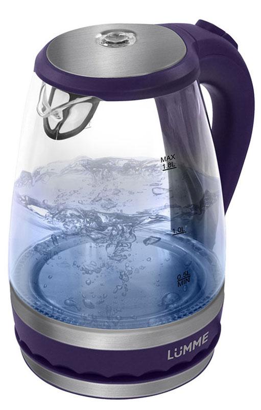 Lumme LU-220, Dark Purple электрический чайникLU-220Легкий ударопрочный стеклянный чайник Lumme LU-220 с голубой внутренней подсветкой в элегантном прозрачном корпусе из закаленного термостойкого стекла объемом 1.8 литра.Стекло сохраняет природный вкус и все натуральные свойства воды, а внутренний фильтр, закрывающий носик, служит для дополнительной фильтрации воды.Для скорейшего закипания чайник имеет повышенную до 2200 Вт мощность нагревательного элемента, закрытого плоским стальным дном для противостояния накипи, коррозии и удобства в уходе.Система автоматического отключения чайника при закипании или недостаточном количестве воды защитит чайник от преждевременного выхода из строя.Возможность ставить чайник на базу с любой стороны и вращать на 360 градусов, поворачивая ручкой к себе, исключает риск случайных ожогов и обеспечивает полный комфорт эксплуатации.Благодаря внутренней светодиодной голубой подсветке чайник особенно хорошо смотрится в работе и дарит отличное настроение красотой бликов закипающей воды.
