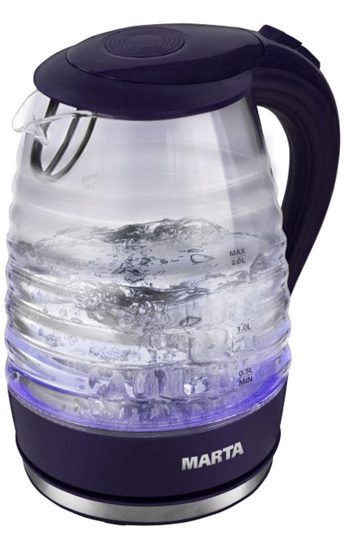 Marta MT-1084, Dark Blue электрический чайникMT-1084Очень легкий и прочный стеклянный чайник Marta MT-1084 с голубой внутренней подсветкой в элегантном прозрачном корпусе из закаленного стекла. Чайник имеет повышенную мощность для скорейшего закипания и съемный фильтр в носике для дополнительной фильтрации. Прозрачный корпус из закаленного стекла сохраняет природный вкус и натуральные свойства воды, не имеет запаха и препятствует образованию накипи. Стеклянный чайник очень легок и при этом обладает высочайшей прочностью.С помощью подсветки легко контролируется работа чайника. Внутренняя подсветка обеспечивает игру световых бликов на кухне и дарит отличное настроение.Плоское дно внутри чайника очень функционально - легко моется, противостоит накипи, не ржавеет, не корродирует, а значит, обеспечивает максимально долгий срок службы чайника.Возможность вращения чайника на 360°. Крайне важная и быстро ставшая привычной функция, обеспечивающая исключительное удобство и безопасность на любой кухне. Чайник можно снимать и ставить на базу с любой стороны без каких-либо усилий и риска обжечься.Автоматическое отключение при закипании или недостаточном количестве воды обезопасит чайник от преждевременного выхода из строя. Вы сможете доверить управление чайником даже ребенку.