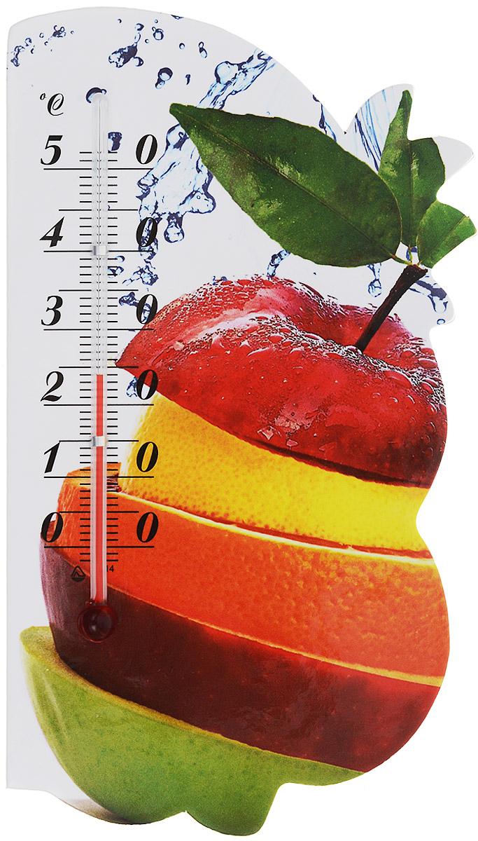 Термометр комнатный Стеклоприбор Сувенир. Фрукты, на магните. 300074_яблоко, апельсин300074_яблоко, апельсинЖидкостный термометр Стеклоприбор Сувенир. Фрукты выполнен в декоративном корпусе из картона. С помощью магнитного крепления такой термометр можно повесить на холодильник.Термометр имеет шкалы измерения температуры по Цельсию (от -2°С до +52°С). Благодаря такому термометру вы всегда будете точно знать, насколько тепло в помещении.Жидкостный термометр Стеклоприбор Сувенир. Фрукты отлично впишется в интерьер вашей кухни, а также станет отличным сувенирным подарком для ваших родных и близких.Размеры термометра: 14,5 х 8 см.