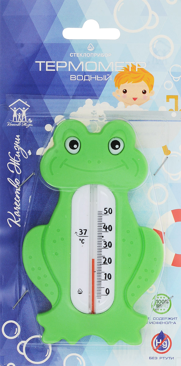 Термометр водный Стеклоприбор Лягушонок. В-3300150Водный термометр Стеклоприбор используется для измерения температуры воды, чаще всего при купании детей. Корпус термометра выполнен из пластика в виде лягушонка, а колба изготовлена из ударопрочного стекла. Модель имеет наглядную шкалу с ценой деления в 1°С и широкий диапазон температур - от 0 до +50°С. На термометре есть отметка 37°С - оптимальная температура купания ребенка. Яркий и интересный, такой термометр для воды будет не просто измерительным прибором, но и безопасной игрушкой во время купания для ваших детей. Не содержит ртути.