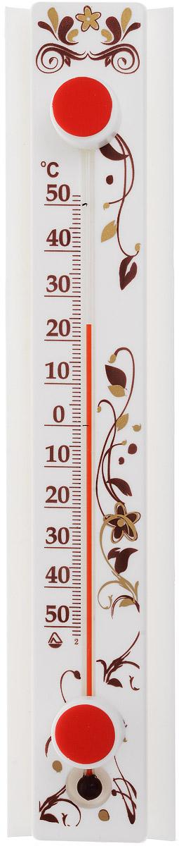 Термометр оконный Стеклоприбор Солнечный зонтик. Престиж. ТБО исп.1300158_белый, коричневыйТермометр оконный Стеклоприбор Солнечный зонтик, изготовленный из пластика, снабжен специальной защитной планкой, которая защищает капилляр от нагревания при попадании на термометр прямых солнечных лучей. Эта особенность дает прибору следующие преимущества: - Максимальная точность измерений - нет нагрева капилляра, значит, нет и погрешности. - Возможность крепления термометра на солнечной стороне, сохраняя при этом точность измерений. - Широкий рабочий диапазон - от -50 и до +50°С со шкалой деления в 10°С. - Повышенный срок работы - в условиях прямого попадания лучей солнца такие измерители служат как минимум на 10% дольше обычных. При этом термометр данной серии оснащен надежным креплением (акриловой липучкой) и отличается оригинальным дизайном. А благодаря наглядной шкале ежедневное использование оконного термометра является максимально удобным. Цена деления шкалы: 1°С.