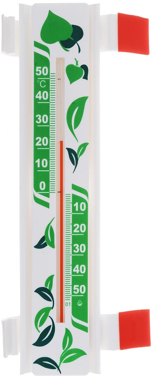 Термометр оконный Стеклоприбор Солнечный зонтик. Эко. ТБО исп.3300240Термометр оконный Стеклоприбор Солнечный зонтик, изготовленный из пластика, снабжен специальной защитной планкой, которая защищает капилляр от нагревания при попадании на термометр прямых солнечных лучей. Эта особенность дает прибору следующие преимущества: - Максимальная точность измерений - нет нагрева капилляра, значит, нет и погрешности. - Возможность крепления термометра на солнечной стороне, сохраняя при этом точность измерений. - Широкий рабочий диапазон - от -50 и до +50°С со шкалой деления в 10°С. - Повышенный срок работы - в условиях прямого попадания лучей солнца такие измерители служат как минимум на 10% дольше обычных. Термометр крепится к оконной раме при помощи 2 кронштейнов на акриловой липучке. Кронштейны позволяют прикрепить термометр на раму или стекло, как на правую, так и на левую сторону.Цена деления шкалы: 1°С.