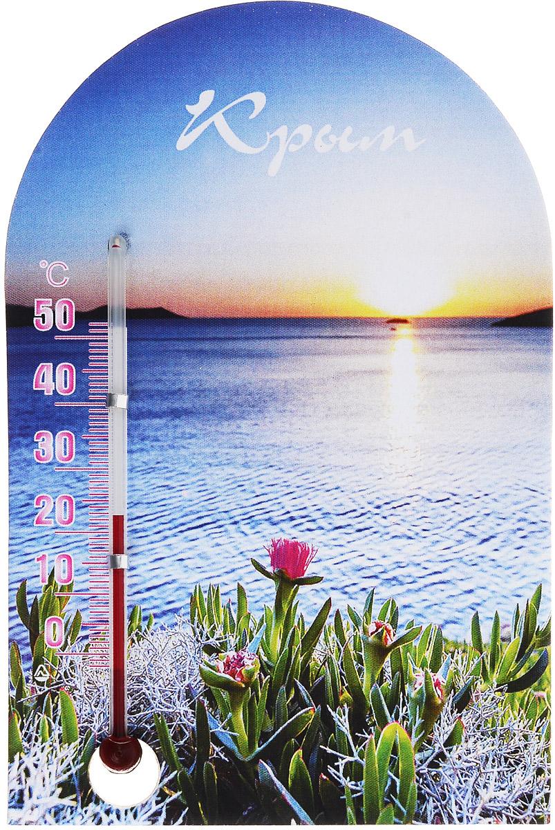 Термометр комнатный Стеклоприбор Крым300250_крымТермометр комнатный Стеклоприбор применяется для измерения температуры воздуха в помещении. Термометр выполнен из картона, оформлен красочным изображением морского заката и надписью Крым. Термометр оснащен шкалой с ценой деления 1°С и имеет широкий рабочий диапазон - от 0 до +50°С. Изделие крепится с помощью магнита. Не содержит ртути. Благодаря яркому дизайну такой термометр идеально подойдет в качестве памятного сувенира. Для хорошего самочувствия и здоровья идеальный микроклимат в доме создаст температура +18…+24°С.
