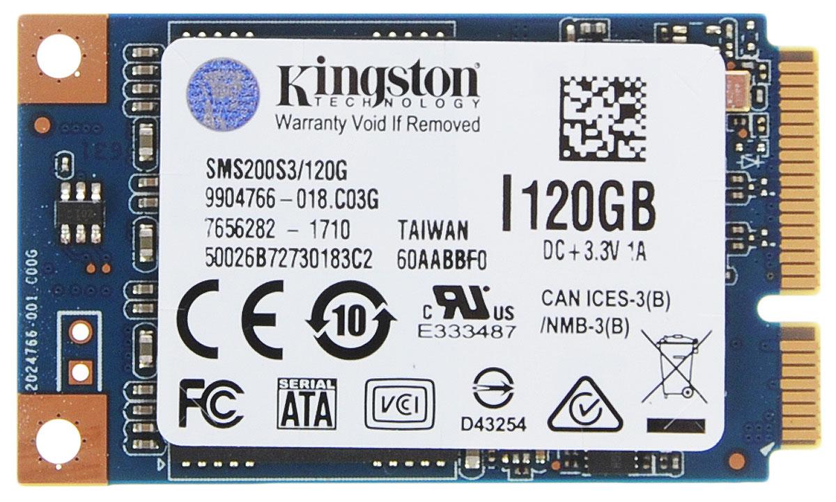 Kingston mS200 120Gb SSD-накопительSMS200S3/120GНакопители Kingston SSDNow mS200 mSATA обеспечивают эффективный по стоимости прирост производительности с возможностью установки двух накопителей, позволяя создавать хранилища данных большой емкости. Идеальный выбор для сборщиков систем, OEM-производителей и энтузиастов: компактный и надежный форм-фактор mS200 с хорошим охлаждением в 8 раз меньше накопителя 2,5 дюйма и прекрасно подходит для ноутбуков, планшетных компьютеров и ультрабуков.Твердотельный накопитель mS200 доступен в вариантах емкости до 480ГБ и представляет собой бескорпусную конструкцию из печатной платы без подвижных деталей; он имеет трехлетнюю гарантию, бесплатную техническую поддержку и отличается легендарной надежностью Kingston.Интерфейс mSATA - полная совместимость с отраслевым стандартом, простота установки, гарантия работыНа основе флеш-памяти NAND - ударостойкость и низкое энергопотреблениеПоддержка технологии SRT компании Intel - объединяет в себе преимущества емкости HDD с повышением производительности SSD в конфигурации с двумя накопителямиПоддержка S.M.A.R.T. - отслеживание состояние накопителяПоддержка технологии TRIM - обеспечивает максимум производительности в совместимых операционных системахМаксимальная скорость чтения/записи случайных блоков 4 Кб: до 86000/до 48000 IOPSРейтинг PCMARK Vantage HDD Suite: 60000Шифрование: AES, 128-битноеСредняя наработка до первого отказа (MTTF): 1 млн часов