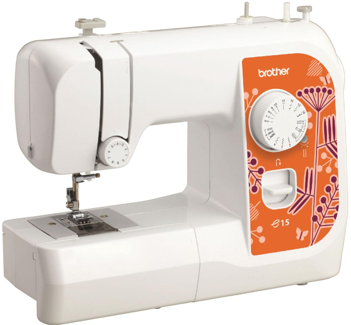 Brother e15 швейная машинаe15Машина Brother e15 идеально подходит для выполнения основных швейных операций при изготовлении и ремонте одежды. Небольшое количество строчек, в том числе для обработки края, возможность работы с различными материалам делают эту машинку привлекательной для начинающих. Горизонтальный челнок и 6-и сегментная рейка-транспортер обеспечивают качественное шитье различных видов ткани. Легкий и плавный ход педали позволяет точно регулировать скорость машины.