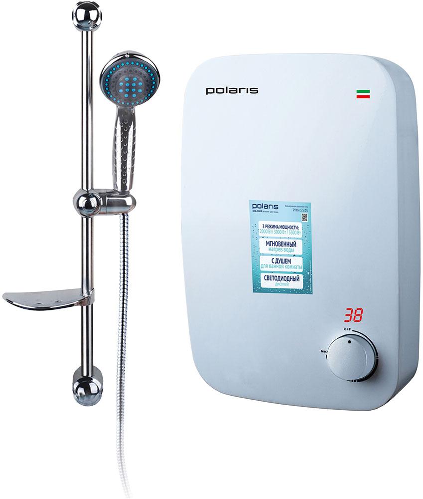 Polaris PIWH 5.5 DS водонагреватель проточный007512Электрический водонагреватель проточного типа Polaris PIWH 5.5 DS предназначается для быстрого нагрева проточной воды в квартирах, офисах на дачах и в других бытовых помещениях. Современный ненавязчивый дизайн позволит устройству стать гармоничной частью любого интерьера, независимо от стиля его оформления.Главное преимущество нагревателя такого типа заключается в том, что вода становится горячей сразу же после прохождения через прибор.Мощность представленной модели не требует прокладывания отдельной электропроводки от щитовой и установки дополнительных предохранителей.Главным достоинством медного теплообменника является то, что он обладает отличными показателями теплоотдачи, а также весьма устойчив к коррозии. Коэффициент полезного действия нагревательного элемента, используемого в водонагревателе PIWH 5.5 DS, составляет 98%.Данная модель водонагревателя снабжена высоконадежной защитой как от перегрева, так и от активации устройства при отсутствии в нем воды. За предотвращение включения прибора при отключенном водоснабжении отвечает встроенный термостат, который в автоматическом режиме обесточивает нагревательный элемент.Функционал устройства предусматривает наличие трех режимов мощности – 2000, 3000 и 5500 Вт. Температура воды (данное значение отображается на дисплее) на выходе зависит от того, в каком положении будет находиться переключатель мощности. При использовании минимальной мощности загорается индикатор зеленого цвета. При использовании средней мощности горит красный индикатор. Выбор максимального значения включает оба индикатора.Водонагреватель оснащен механическими элементами управления, индикацией включения и мощности. Термометр позволяет определять температуру воды, а вся необходимая информация выводится на LED дисплей.Водонагреватель подключается к однофазному источнику питания через двухполюсныйвыключатель. Этот выключатель устанавливается отдельно от водонагревателя.