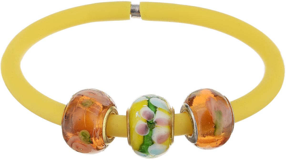 Браслет Пандора. Муранское стекло, каучук желтого цвета, ручная работа. Murano, Италия (Венеция)Браслет с подвескамиБраслет Пандора.Муранское стекло, каучук желтого цвета, ручная работа.Murano, Италия (Венеция).Размер: полная длина 19 см.Каждое изделие из муранского стекла уникально и может незначительно отличаться от того, что вы видите на фотографии.