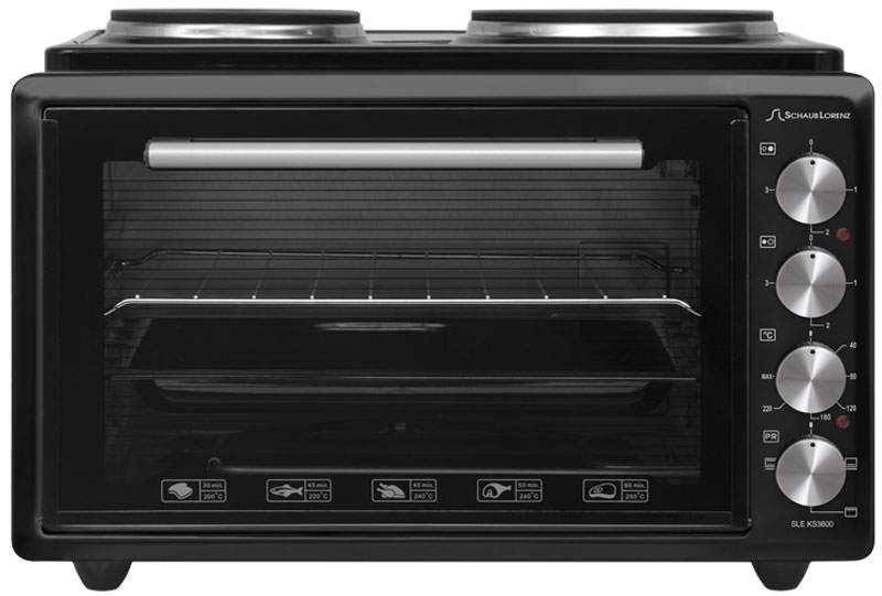 Schaub Lorenz SLE KS3600, Black мини-печьSLE KS3600Мини-печь Schaub Lorenz SLE KS3600 может служить отличной заменой полноразмерной кухонной плите. Объем духовки составляет 36 л, этого объема хватает для разнообразной выпечки, запекания мяса и птицы, приготовления горячих бутербродов.Благодаря сочетанию работы верхнего и нижнего нагревательных элементов распределение тепла и приготовление происходит максимально равномерно. Также печь оснащена двумя электрическими чугунными конфорками мощностью 1500 и 1000 Вт. Таким образом, максимальная мощность печи составляет 2500 Вт.Данная модель обладает удобным и надежным управлением при помощи четырех поворотных регуляторов. Есть возможность установки таймера. В комплекте с мини-печью поставляется все необходимое для повседневного приготовления: стандартный противень с антипригарным покрытием и хромированная решетка.