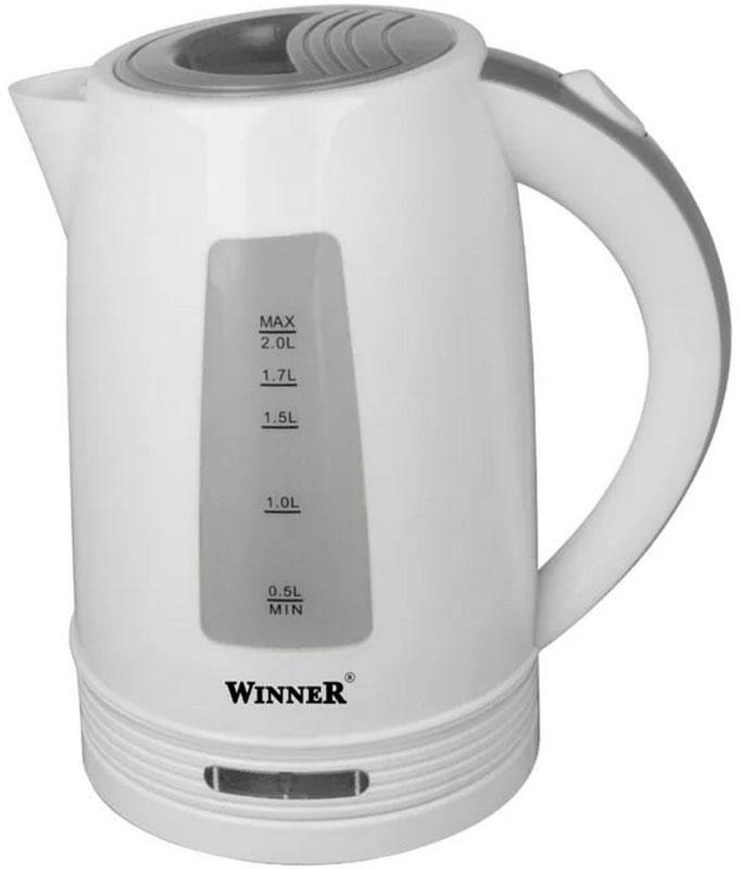 Winner Electronics WR-119 электрический чайникWR-119В чайнике Winner Electronics WR-119 гармонично сочетаются отличные эксплуатационные характеристики и эргономичный дизайн. Нагревательный элемент из нержавеющей стали обеспечивает быстрое закипание воды.Для максимального комфорта в данной модели предусмотрена индикация включения, а также прозрачная шкала уровня воды. Кроме того, устройство оснащено удобной кнопкой для открывания и закрывания крышки. Противоскользящее покрытие гарантирует устойчивость.