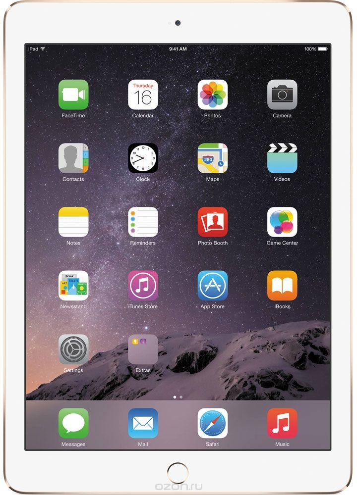 Apple iPad Air 2 Wi-Fi + Cellular 32GB, GoldMNVR2RU/AApple iPad Air 2 приносит новые ощущения от пользования планшетами. Отныне устройство становится тонким на столько на сколько это возможно вообще.Первое, на что обращаешь внимание - насколько тонкое и лёгкое устройство у вас в руках. Толщина iPad Air 2 - всего 6,1 миллиметра. А весит он менее 450 грамм. Его ещё легче держать одной рукой и брать с собой повсюду.Жидкокристаллический слой дисплея стал ближе к вам и вашим пальцам. Когда вы касаетесь экрана, кажется, будто между вами и вашим контентом ничего нет. Кроме того, повышена чувствительность экрана. Он теперь ещё лучше реагирует на ваши движения и воспринимает даже самые быстрые жесты. Вы можете играть, работать в интернете, смотреть фотографии или видео - чем бы вы ни занимались, всё работает удивительно плавно.Дисплей iPad Air 2 покрыт специальным антибликовым покрытием, на 56 процентов уменьшающим объём отражённого света - мало планшетов могут похвастаться тем же. Практически в любых условиях - в офисе, в классе, на улице - вам будет лучше видно, а читать станет легче.Корпус iPad Air 2, сделанный из анодированного алюминия, выпускается в трёх благородных оттенках. Фаска на кромке алюминиевого корпуса снимается при помощи монокристаллического алмаза. Процесс настолько точен, что допустимые отклонения измеряются в микронах.В основе невероятной производительности iPad Air 2 лежит процессор A8X. Благодаря 64-?битной архитектуре уровня настольных систем и 3 миллиардам транзисторов процессор A8X обеспечивает скорость и графическую производительность наравне со многими компьютерами.Процессор A8X обрабатывает графику в 2,5 раза быстрее, чем процессор A7. iPad Air 2 обеспечивает графическую производительность, ранее доступную только на настольных компьютерах и игровых приставках. Игры со сложной графикой и приложения для обработки видео работают превосходно и выглядят потрясающе на просторном дисплее Retina.Технология Metal оптимизирована таким образом, чтобы центра