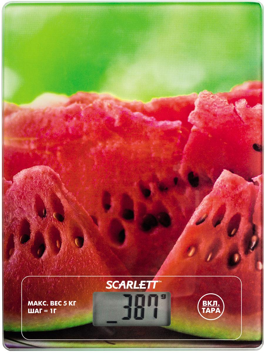 Scarlett SC-KS57P12, Watermelon кухонные весыSC-KS57P12Кухонные электронные весы Scarlett SC-KS57P12 - незаменимые помощники современной хозяйки. Они помогут точно взвесить любые продукты и ингредиенты. Кроме того, позволят людям, соблюдающим диету, контролировать количество съедаемой пищи и размеры порций. Предназначены для взвешивания продуктов с точностью измерения 1 грамм.Ультратонкая платформа из ударопрочного термостойкого стекла – 0,4 смКнопка переключения единиц измерения на задней панелиСенсорная панель управленияУдобство очистки