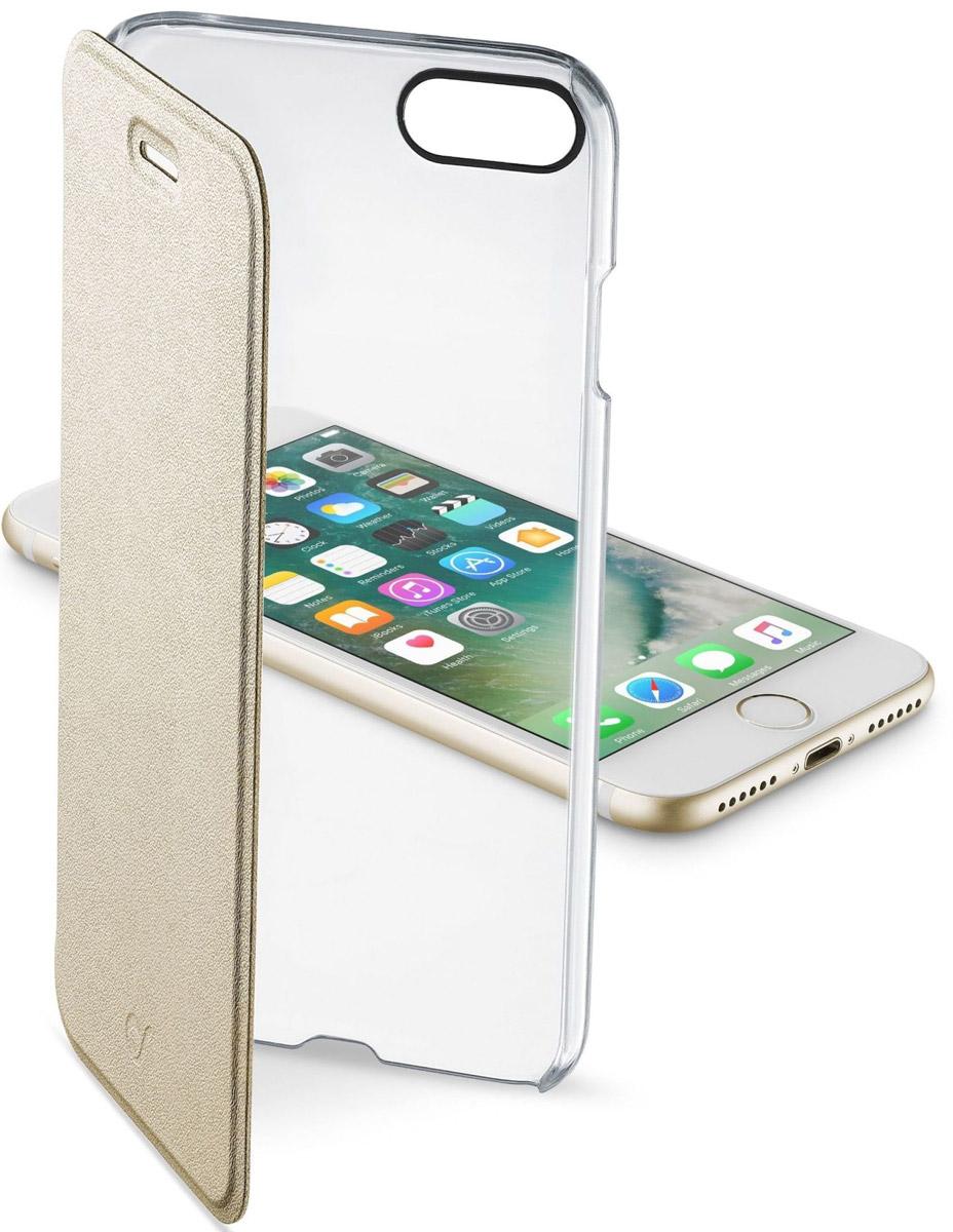 Cellular Line Clear Book чехол для Apple iPhone 7, Gold cellular line book agenda чехол для iphone 6 white 21832