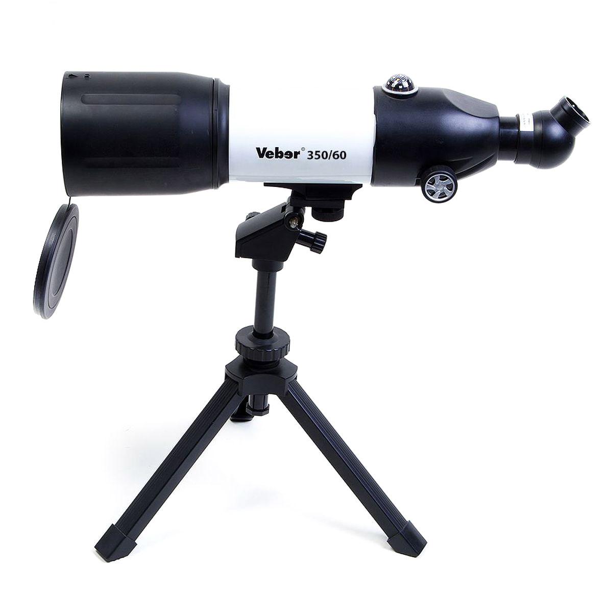Veber 350x60 Аз телескоп21181Veber 350x60 Аз - компактный телескоп-рефрактор. Удобен как для домашних астрономических (и не только) наблюдений, так и для вылазок на природу. Его длина всего 45 см, он легкий и компактный. При этом телескоп вовсе не детская игрушка! Его ахроматическая оптика дает хорошее, четкое, резкое изображение без окрашенности по краям поля зрения. С набором окуляров, входящих в комплект, можно получить увеличение от 17,5х (ближняя точка фокусировки около 5 м) до 116,4х. Диаметр объектива — 70 мм.Об окулярной части следует сказать особо: она расположена под углом 45° к оси прибора, и может поворачиваться вокруг своей оси на 360° (8 положений). Все это делает очень комфортным наблюдение — как из положения сидя, так и из положения стоя. При этом изображение не зеркальное, где лево и право поменялись местами, а прямое! (в конструкции используется призма Шмидта с крышей). Таким образом, этот телескоп можно использовать не только по прямому назначению, но и как зрительную трубу.Что можно увидеть в этот телескоп: кратеры луны диаметром около 10 км, кольца Сатурна, Марс. Его проницающая способность 10.99 звёздных величин — крупные скопления галактик также будут доступны для любознательных наблюдателей.В комплекте поставляется специальный настольный штатив. Он имеет механизм плавных подвижек по вертикали и по горизонтали — с помощью вращающихся рукояток. Так как крепление трубы осуществляется с помощью винта 1/4, при необходимости можно использовать любой фотоштатив.