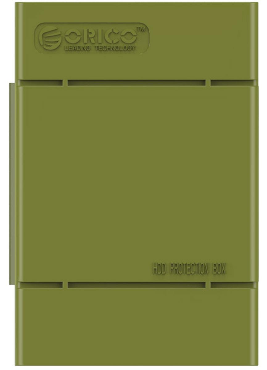Orico PHP-35, Green чехол для жесткого дискаORICO PHP-35-SNКейс Orico PHP-35 специально создан для защиты 3,5-дюймовых жестких дисков. Надежный материал кейса защитит диск от влаги и статического электричества, а благодаря дополнительным ребрам жесткости, кейс гарантирует хорошую защиту от ударов. С помощью специальной этикетки можно легко и просто сделать пометки на кейсе.