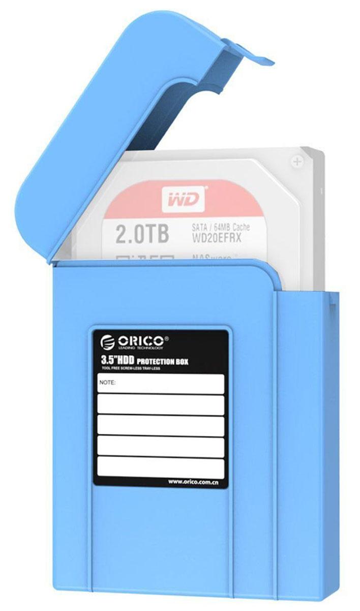 Orico PHI-35, Blue чехол для жесткого дискаORICO PHI-35-BLКейс Orico PHI-35 надежно защитит жесткий диск от пыли, влаги и прочих капризов окружающей среды. Благодаря дополнительным ребрам жесткости и крышке с защелкой, жесткий диск будет надежно защищен от падений и не выпадет из кейса при ударе. С помощью специальной этикетки можно легко и просто сделать пометки на кейсе.