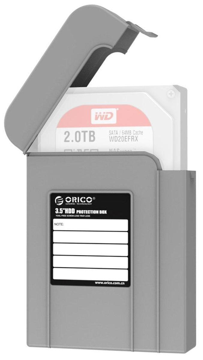 Orico PHI-35, Gray чехол для жесткого дискаORICO PHI-35-GYКейс Orico PHI-35 надежно защитит жесткий диск от пыли, влаги и прочих капризов окружающей среды. Благодаря дополнительным ребрам жесткости и крышке с защелкой, жесткий диск будет надежно защищен от падений и не выпадет из кейса при ударе. С помощью специальной этикетки можно легко и просто сделать пометки на кейсе.