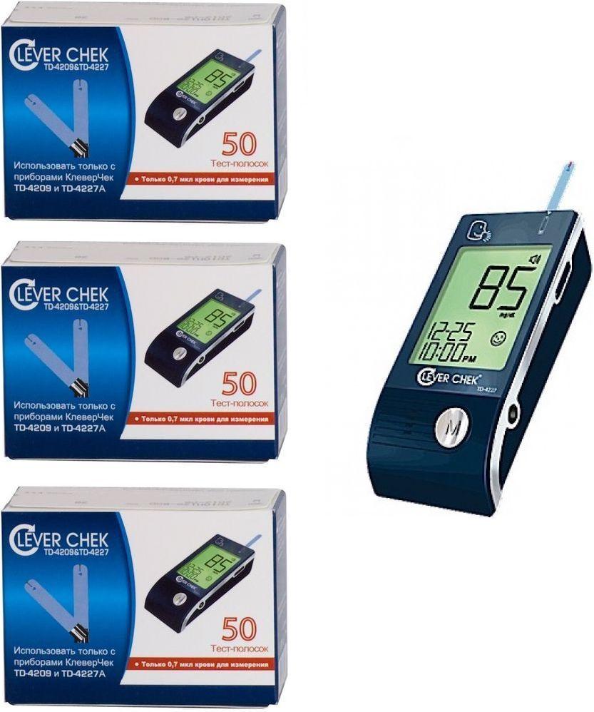 Тест-полоски CleverChek TD-4209/4227, 3 х 50 шт + ПОДАРОК Глюкометр CleverChek ТД-4227 неинвазивный прибор для измерения глюкозы купить