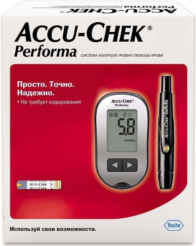 Глюкометр Accu-Chek Performa601Просто измерять- Не требует кодирования- Маленькая капля крови- Быстро заполняемая тест-полоска- Большой легко читаемый дисплей- 3 шага для проведения измерения без использования меню или кнопок Acc_Perform Просто доверять- Доказанная точность*, которой могут доверять врачи и пациенты, соответствует международному стандарту ISO 15197:2013- Гарантия производителя на весь срок службы прибора и возможность бесплатной бессрочной замены Acc_Perform Просто обучать- Краткая инструкция с иллюстрациями для быстрого начала использования- Для начала измерений не требуется предварительной настройки или специального обучения- Обучающие видео-инструкции всегда доступны в Интернете Acc_Perform Просто управлять- Память на 500 измерений и средние значения за 7, 14, 30 и 90 дней- Напоминания об измерениях- Отметки до и после еды- Сообщения о гипогликемииДоверьте контроль своего уровня глюкозы крови простому, надежному и точному глюкометру Acc_Perform- Справочные данные. В стандарте ISO 15197:2013 излагаются требования к системам, используемым пациентами для самостоятельного контроля уровня глюкозы крови в процессе лечения сахарного диабета. Данный стандарт предполагает жесткие требования к точности и новые критерии для гематокрита и других помех.Технические характеристики:•Объем крови: 0,6 мкл•Время измерения: 5 секунд•Память: 500 результатов тестов с указанием времени и даты•Средние значения: за 7, 14, 30 и 90 дней, в том числе для результатов до и после еды•Отметки для результатов до и после еды: да•Напоминания об измерениях после еды: да, через 1 час или через 2 часа•Информирование о низком уровне сахара крови: да, с индивидуальной настройкой•Функция будильника: да, на 4 момента времени•Размеры: 94 х 52 х 21 мм•Вес: 59 г (включая батарею).•Температура для проведения измерений: +8 °C до +44 °C•Температура хранения: от -25 °C до +70 °C•Допустимый диапазон значений : 0,6 - 33,3 ммоль /л•Принцип измерения: электрохимический•Дисплей: ЖК-дисплей•Меню: симв