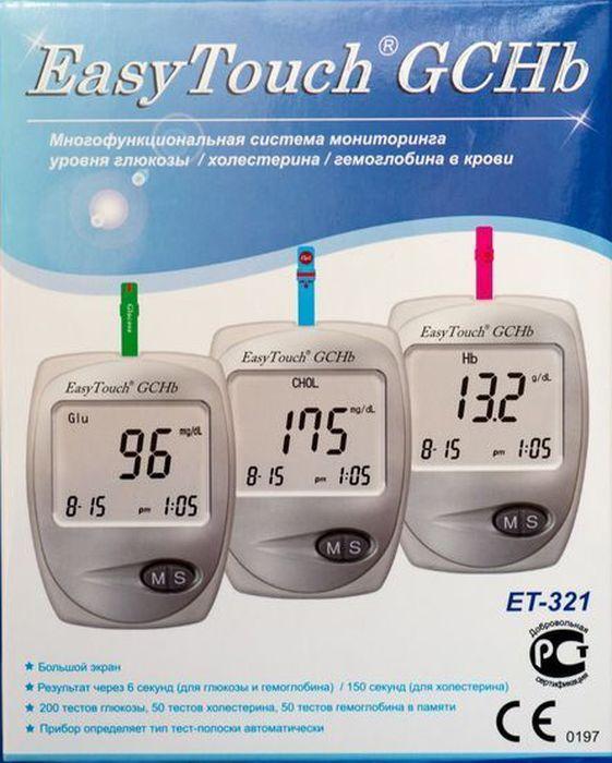 Анализатор глюкозы, холестерина и гемоглобина EasyTouch GCHb791Описание:Многофункциональная система мониторинга ИзиТач / Easy Touch GCHbДля самостоятельного контроля содержания глюкозы/холестерина/гемоглобина в крови.Многофункциональная система мониторинга предназначена только для диагностики in vitro (только для наружного применения).Система предназначена для работников здравоохранения и людей, страдающих диабетом, гиперхолестеринемией или анемией, для количественного измерения содержания глюкозы, холестерина и гемоглобина в свежей капиллярной цельной крови из кончика пальца. Частый контроль содержания в крови глюкозы, холестерина, гемоглобина - дополнительная забота о людях, страдающих диабетом, гиперхолестеринемией и анемией. Просто нанесите каплю крови на тест-полоску, и результат содержания глюкозы будет отображен на экране спустя 6 секунд, холестерина спустя 150 секунд и гемоглобина спустя 6 секунд.Многофункциональная система EasyTouch GCHb подходит для самоконтроля при диабете, гиперхолестеринемии или анемии в домашних условиях или для профессионального использованияХарактеристики EasyTouch GCHbТип прибора Многофункциональная система мониторинга уровня глюкозы, холестерина и гемоглобина в кровиМодель EasyTouch GCHbМетод измерения ЭлектрохимическийТип калибровки По цельной кровиТип образца Свежая цельная капиллярная кровьИзмеряемые характеристикиГлюкоза Да (1,1-33,3 ммоль/л)Холестерин общий Да (2,6-10,4 ммоль/л)Гемоглобин Да (4,3-16,1 ммоль/л)Единицы измерения ммоль/л, мг/длМаксимальная погрешность измерения ± 20 %Объем капли крови до 15 мклДлительность измерения 6 сек. глюкоза и гемоглобин, 150 сек. холестеринДисплей ЖидкокристаллическийОбъем памяти 200 результатов для глюкозы, 50 результатов для холестерина, 50 результатов для гемоглобинаЭлементы питания Алкалиновые батарейки 1.5В (ААА) - 2 шт.Срок службы элементов питания приблизительно 1000 измеренийАвтоотключение ЕстьКодирование тест-полосок ЧипомВес 59 г.Размеры 88 x 64 x 22 ммГарантия БессрочнаяКомплект