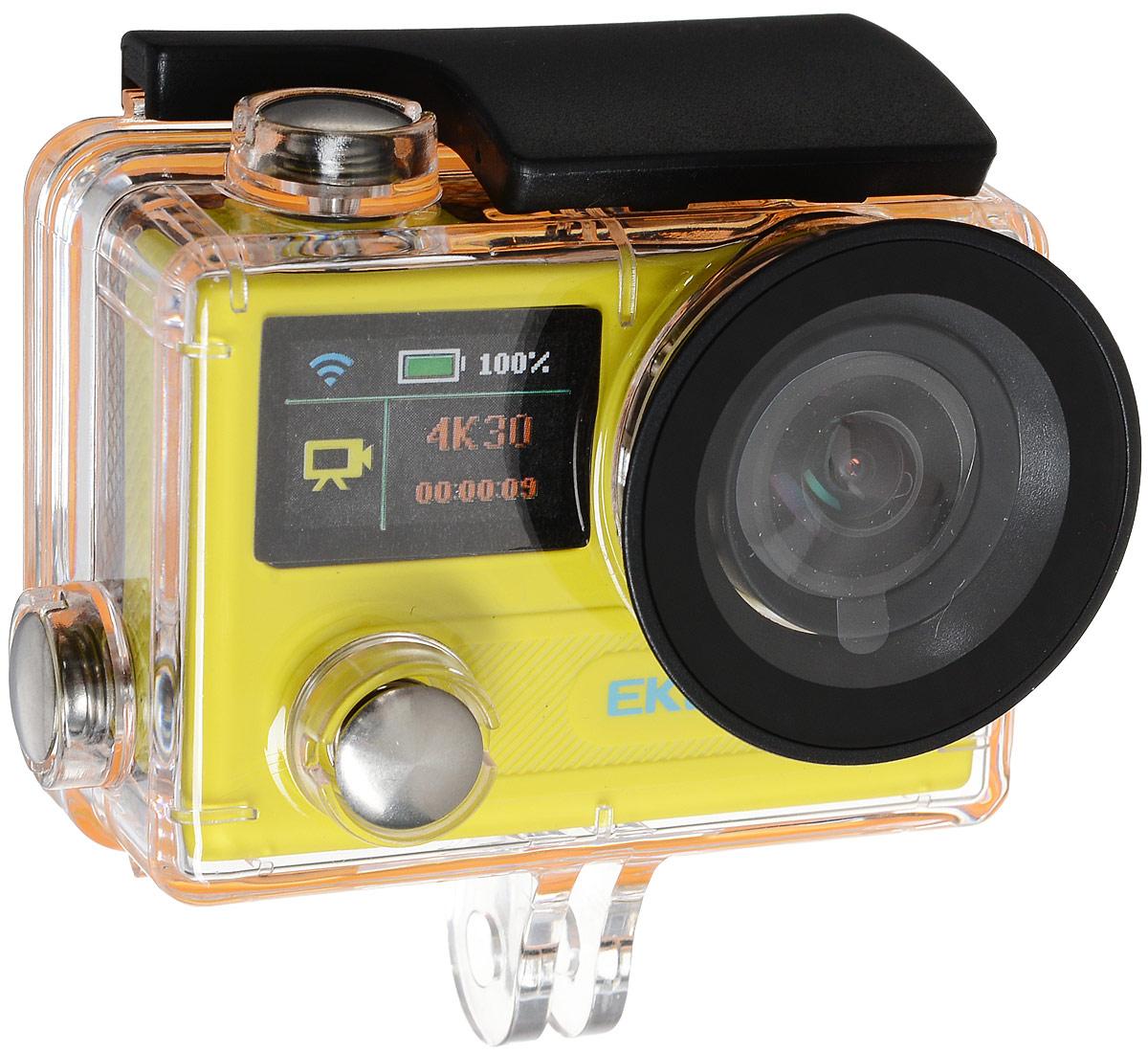 Eken H8 Ultra HD, Yellow экшн-камераH8 YELLOWЭкшн-камера Eken H8 Ultra HD позволяет записывать видео с разрешением 4К и очень плавным изображением до 30 кадров в секунду. Камера имеет два дисплея: 2 TFT LCD основной экран и 0.95 OLED экран статуса (уровень заряда батареи, подключение к WiFi, режим съемки и длительность записи). Эта модель сделана для любителей спорта на улице, подводного плавания, скейтбординга, скай-дайвинга, скалолазания, бега или охоты. Снимайте с руки, на велосипеде, в машине и где угодно. По сравнению с предыдущими версиями, в Eken H8 Ultra HD вы найдете уменьшенные размеры корпуса, увеличенный до 2-х дюймов экран, невероятную оптику и фантастическое разрешение изображения при съемке 30 кадров в секунду!Управляйте вашей H8 на своем смартфоне или планшете. Приложение Ez iCam App позволяет работать с браузером и наблюдать все то, что видит ваша камера.