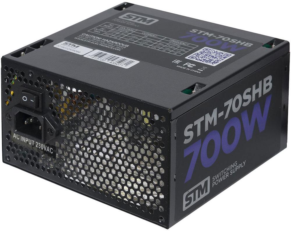STM 70SHB блок питания для игрового компьютера1000205630Блок питания STM 70SHB обеспечит бесперебойную работу вашего компьютера. Он изготовлен с применением высококачественных материалов. Высокая производительность делает этот источник питания отличным выбором при сборке ПК.Выполненный из прочного металла, блок питания STM 70SHB оснащен мощным вентилятором для охлаждения. Его диаметр составляет 120 мм. Данный вентилятор обеспечивает превосходное охлаждения блока питания и отличается фактически полным отсутствием шума во время своей работы.