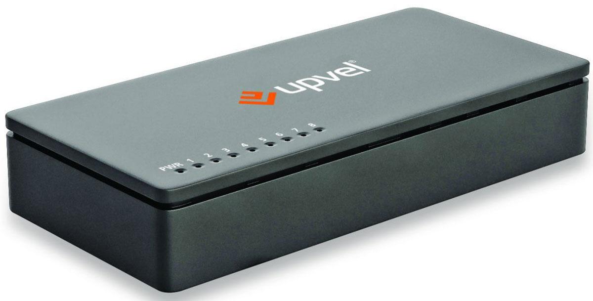 UPVEL US-8F, Black коммутаторUS-8F_BlackВосьми портовый коммутатор UPVEL US-8F позволяет объединить в одну сеть несколько компьютеров и передавать данные со скоростью до 100 Мбит/с. Коммутатор поддерживает функцию Auto-MDIX, полудуплексный и дуплексный режимы передачи данных и технологию Plug & Play.Стандарт: IEEE 802.3 10Base-T / IEEE 802.3u 100Base-TX / IEEE 802.3x Flow ControlКабели: Ethernet: категория 5, длина до 100 метров / Fast Ethernet: категория 5, 5e или 6, длина до 100 метровСкорость передачи данных: Ethernet: 10 / 20 Мбит/с (полудуплексный / дуплексный режим) /Fast Ethernet: 100 / 200 Мбит/с (полудуплексный / дуплексный режим)Пропускная способность коммутационной матрицы: 1,6 Гбит/сТопология: ЗвездаТаблица коммутации: 2000 записей для каждого подключенного устройстваБуферная память: 512 Кбайт для каждого подключенного устройства
