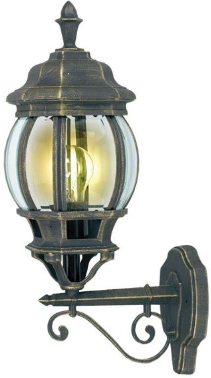 Светильник садовый настенный Duwi Praha, высота 490 мм. 24091 424091 4Настенный садовый светильник Duwi Praha (бра вверх) напоминает об узких улочках старых европейских городов. Черный корпус с золотым напылением выполнен из алюминиевого сплава и дополнен изящными декоративными элементами. Стекла фонаря выпуклые и прозрачные. Светильники этой серии отличаются исполнением в старом европейском стиле, что придаст очарование вашему дому и участку. Задняя крышка снабжена уплотнителем, который надежно защищает электропроводку от внешних воздействий. Изделие имеет монтажный разъем для легкого и быстрого подключения. Возможность использования с любыми лампами, имеющими цоколь E27 (накаливания, энергосберегающими, светодиодными). Светильник работает от сети 220 В, обладает высокой степенью пыле- и влагозащищенности IP44. Светильники Duwi Praha - идеальное решение для декоративного освещения летних домиков, беседок или садовых дорожек. Садово-парковые светильники под брендом DUWI изготавливаются в соответствии со строгими европейскими стандартами качества.