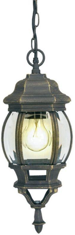 Светильник садовый подвесной Duwi Praha, высота 1015 мм. 24095 224095 2Подвесной садовый светильник на цепочке Duwi Praha напоминает об узких улочках старых европейских городов. Черный корпус с золотым напылением выполнен из алюминиевого сплава и дополнен изящными декоративными элементами. Стекла фонаря выпуклые и прозрачные. Светильники этой серии отличаются исполнением в старом европейском стиле, что придаст очарование вашему дому и участку. Задняя крышка снабжена уплотнителем, который надежно защищает электропроводку от внешних воздействий. Изделие имеет монтажный разъем для легкого и быстрого подключения. Возможность использования с любыми лампами, имеющими цоколь E27 (накаливания, энергосберегающими, светодиодными). Светильник работает от сети 220 В, обладает высокой степенью пыле- и влагозащищенности IP44. Светильники Duwi Praha - идеальное решение для декоративного освещения летних домиков, беседок или садовых дорожек. Садово-парковые светильники под брендом DUWI изготавливаются в соответствии со строгими европейскими стандартами качества.