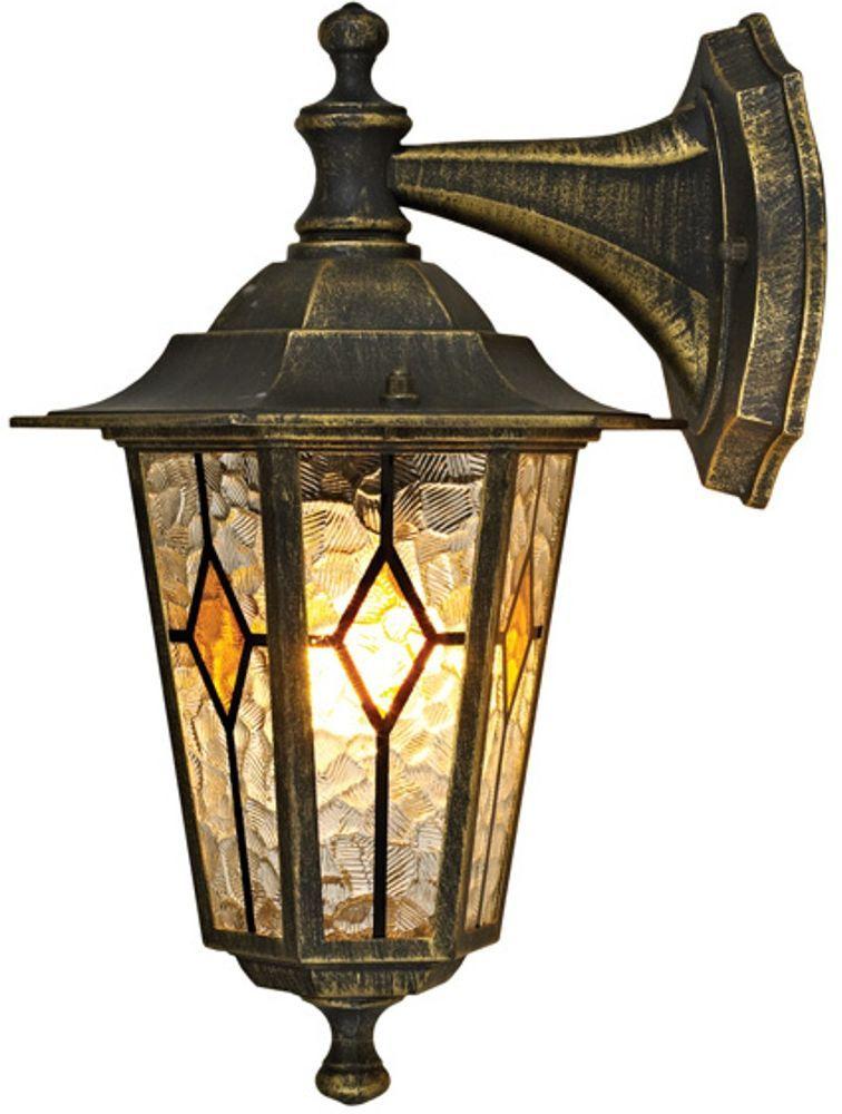 Светильник садовый настенный Duwi Geneva, высота 306 мм. 24163 824163 8Настенный садовый светильник Duwi Geneva (бра вниз) в классическом стиле изготовлен из устойчивого к коррозии алюминиевого сплава и покрашен в черный цвет с золотым напылением. Плафон выполнен из цветного витражного стекла. Изделие обладает высокой степенью пыле- и влагозащищенности IP44. Задняя крышка снабжена уплотнителем, который надежно защищает электропроводку от внешних воздействий. Изделие имеет монтажный разъем для легкого и быстрого подключения. Возможность использования с любыми лампами, имеющими цоколь E27 (накаливания, энергосберегающими, светодиодными). Светильник работает от сети 220 В. Светильники Duwi Geneva - идеальное решение для декоративного освещения летних домиков, беседок или садовых дорожек. Черный цвет с золотым напылением и витражные стекла с элементами теплого золотисто-медового цвета придают им загадочный и торжественный вид.Садово-парковые светильники под брендом DUWI изготавливаются в соответствии со строгими европейскими стандартами качества.