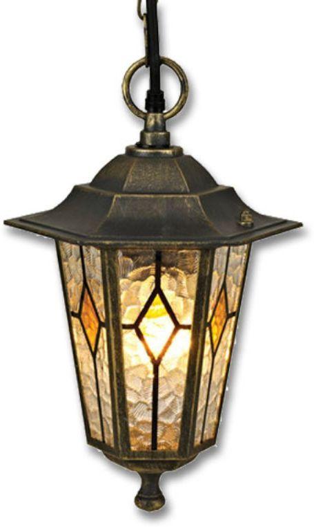 Светильник садовый подвесной Duwi Geneva, высота 930 мм. 24164 524164 5Подвесной садовый светильник на цепочке Duwi Geneva в классическом стиле изготовлен из устойчивого к коррозии алюминиевого сплава и покрашен в черный цвет с золотым напылением. Плафон выполнен из цветного витражного стекла. Изделие обладает высокой степенью пыле- и влагозащищенности IP44. Задняя крышка снабжена уплотнителем, который надежно защищает электропроводку от внешних воздействий. Изделие имеет монтажный разъем для легкого и быстрого подключения. Возможность использования с любыми лампами, имеющими цоколь E27 (накаливания, энергосберегающими, светодиодными). Светильник работает от сети 220 В. Светильники Duwi Geneva - идеальное решение для декоративного освещения летних домиков, беседок или садовых дорожек. Черный цвет с золотым напылением и витражные стекла с элементами теплого золотисто-медового цвета придают им загадочный и торжественный вид.Садово-парковые светильники под брендом DUWI изготавливаются в соответствии со строгими европейскими стандартами качества.