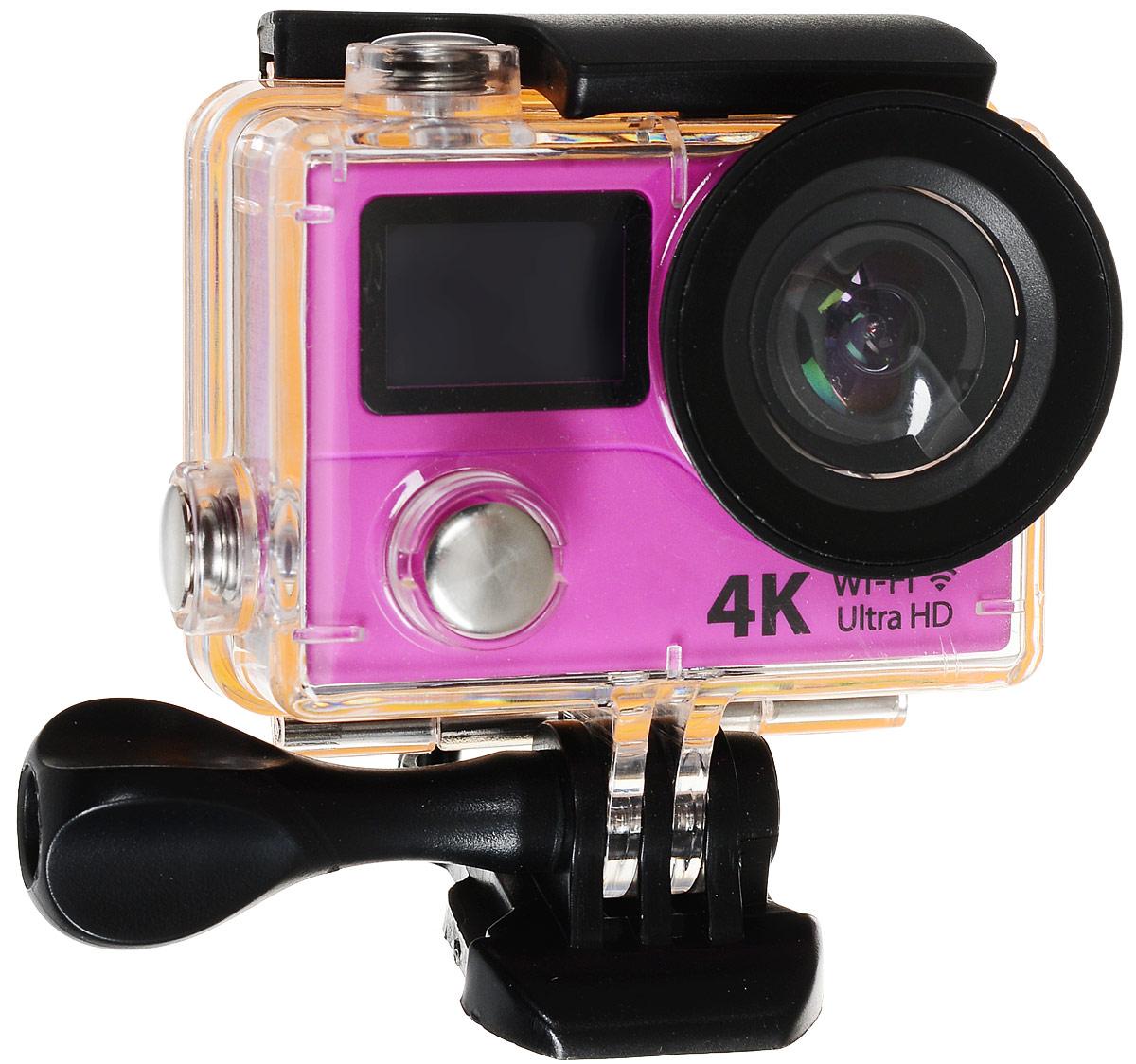 Eken H3R Ultra HD, Pink экшн-камераH3R/H8Rse_pinkЭкшн-камера Eken H3R Ultra HD позволяет записывать видео с разрешением 4К и очень плавным изображением до 25 кадров в секунду. Камера имеет два дисплея: 2 TFT LCD основной экран и 0.95 OLED экран статуса (уровень заряда батареи, подключение к WiFi, режим съемки и длительность записи). Эта модель сделана для любителей спорта на улице, подводного плавания, скейтбординга, скай-дайвинга, скалолазания, бега или охоты. Снимайте с руки, на велосипеде, в машине и где угодно. По сравнению с предыдущими версиями, в Eken H3R Ultra HD вы найдете уменьшенные размеры корпуса, увеличенный до 2-х дюймов экран, невероятную оптику и фантастическое разрешение изображения при съемке 25 кадров в секунду!Управляйте вашей H3R на своем смартфоне или планшете. Приложение Ez iCam App позволяет работать с браузером и наблюдать все то, что видит ваша камера. В комплекте с камерой идет пульт ДУ работающий на частоте 2,4 ГГц. Он позволяет начинать и заканчивать съемку удаленно.