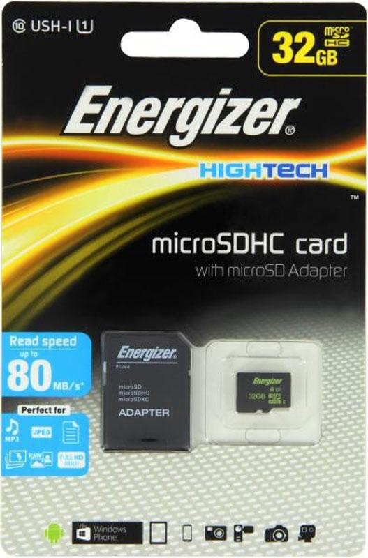 Energizer MicroSDHC Class10 UHS-I 32GB карта памяти с адаптеромFMDAAH032AКарта памяти Energizer microSDHC идеально подходит для съемки видеороликов формата Full HD, серийной съемки и хранения файлов RAW. Благодаря повышенной скорости считывания и записи данная карта памяти позволяет пользователям в полную силу наслаждаться хост-устройствами, такими как MP3-плееры, компактные или псевдозеркальные фотоаппараты, видеокамеры или экшн-камеры для спорта. В комплекте адаптер для SD, позволяющий использовать карту памяти в компьютерах.
