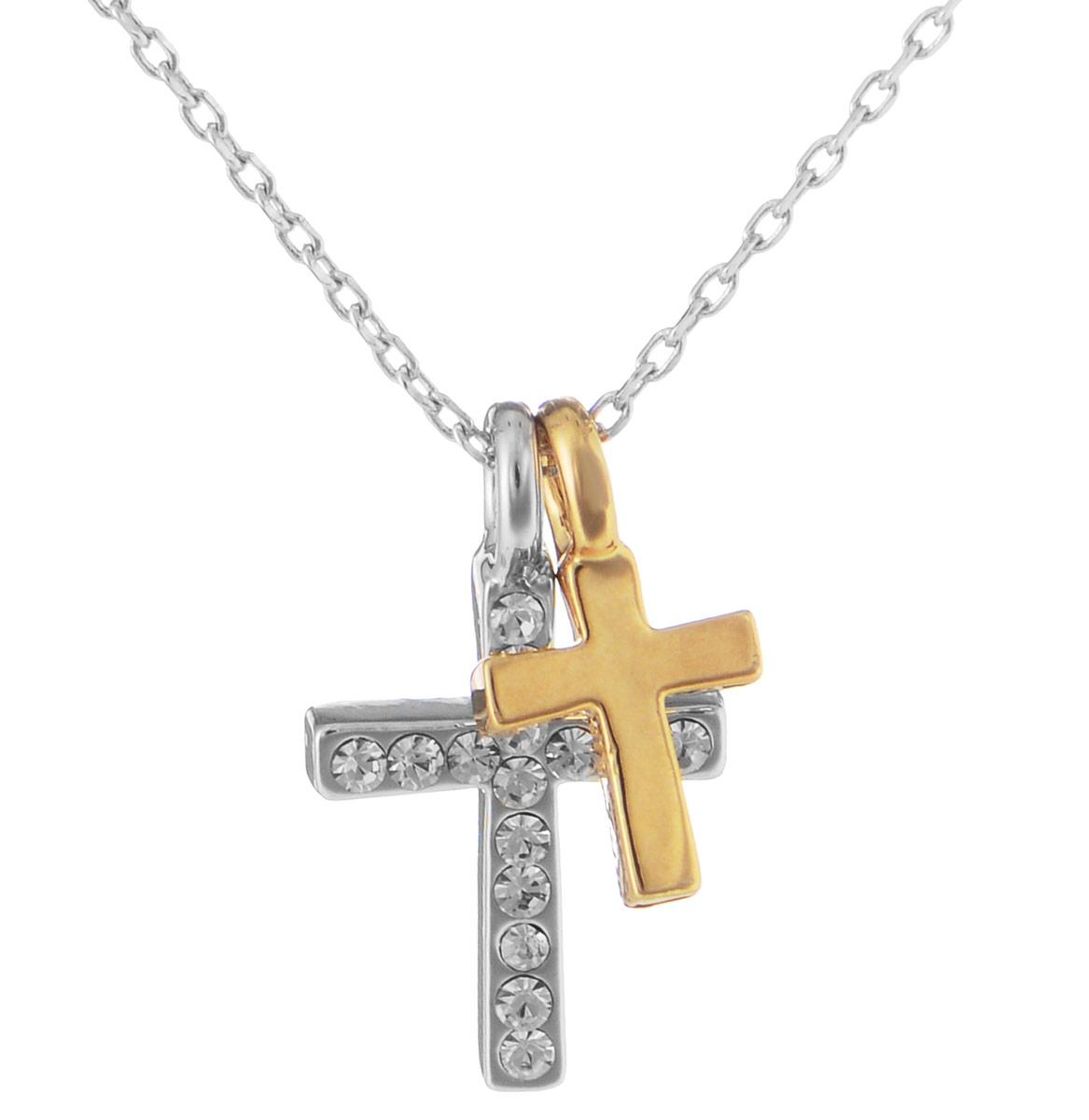 Кулон Art-Silver, цвет: серебряный, черный, золотой, 2 шт. 10785-53939890|Колье (короткие одноярусные бусы)Очаровательный комплект Art-Silver включает в себя два украшения, каждое из которых дополнено двумя кулонами разного размера. Благодаря стильному дизайну изделия идеально сочетаются.Первое украшение выполнено в виде изящной цепочки, дополненной двумя кулонами в форме крестов. Один из кулонов инкрустирован цирконами. Цепочка застегивается на замок-карабин, длина регулируется.Второе украшение представляет собой текстильный шнур, который также дополнен двумя кулонами и застегивается на замок-карабин. Длина изделия регулируется за счет дополнительных звеньев.Кулон Art-Silver поможет дополнить любой образ и привнести в него завершающий штрих.