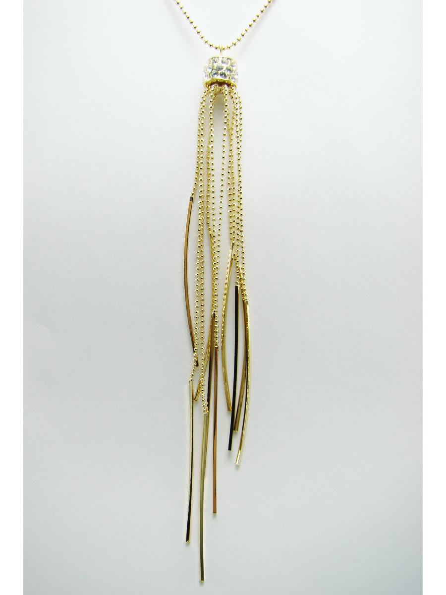 Подвеска Taya, цвет: золотистый. T-B-711339890|Колье (короткие одноярусные бусы)Стильная подвеска Taya выполнена из ювелирного сплава золотистого цвета. На мелкой цепи располагается кулон цилиндрической формы, украшенный стразами, вниз свисают цепочки с металлическими прутиками на концах.Очаровательная подвеска Taya поможет создать уникальный и запоминающийся образ.
