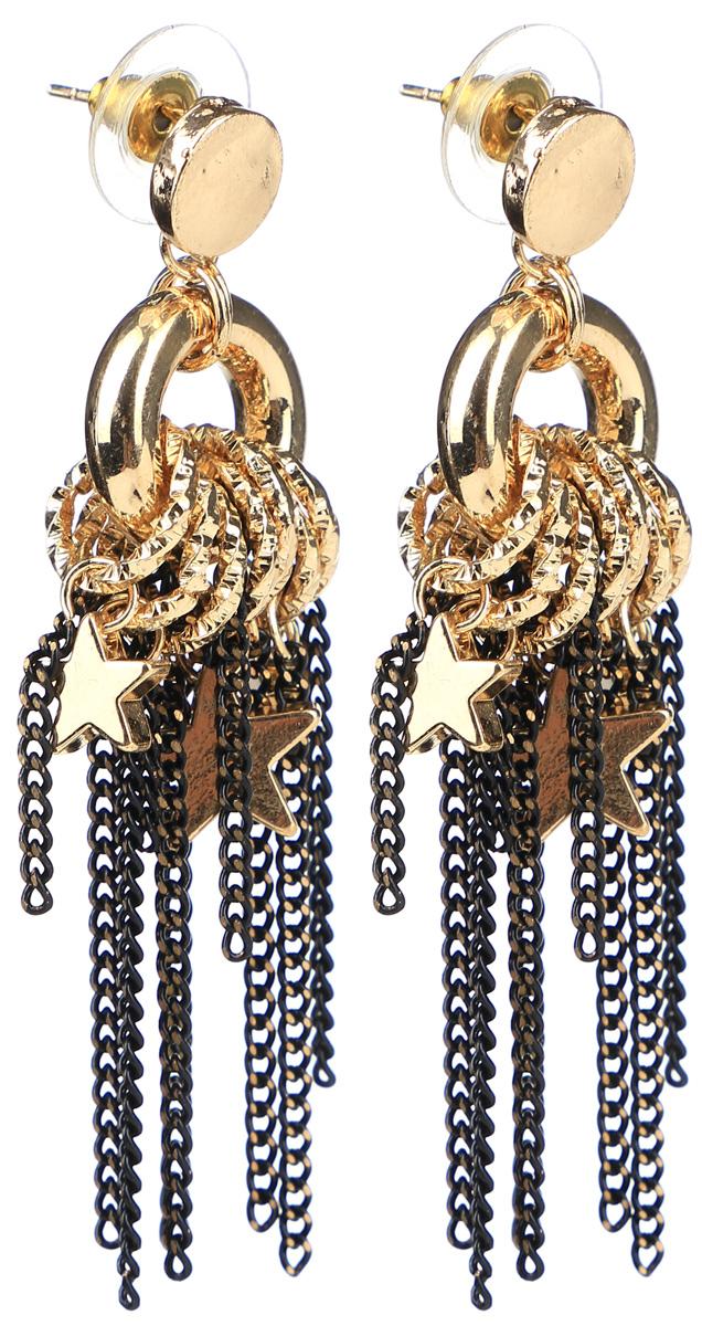Серьги Taya, цвет: золотистый. T-B-12045-EARR-GOLDСерьги с подвескамиСерьги-гвоздики с металлической заглушкой изготовлены из бижутерного сплава. Сложное украшение выполнено из цепочек, звездочек, колечек. Свисающие цепи хорошо гармонируют с общей цветовой гаммой.