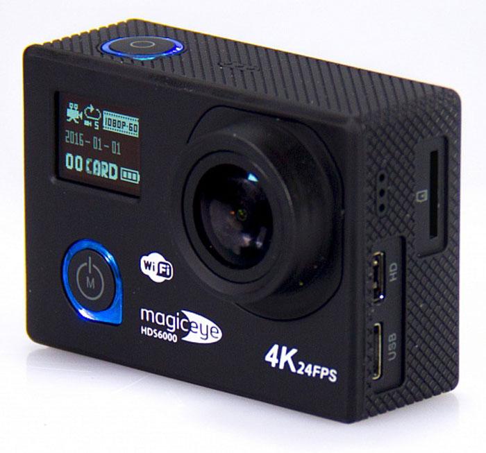 """Gmini MagicEye HDS6000, Black экшн-камераAK-10000014Портативная экшн-камера с возможностью записи в формате FullHD 1080p с частотой 60 кадров в секунду, 2"""" LCD дисплеем, фронтальным информационным OLED дисплеем, управлением съемкой по WiFi и обновленным чипсетом.Сенсор и объективСенсор Panasonic MN34120PAШирокоугольный объектив с углом обзора 170?. Обновленный процессор Novatek NTK96660 отличается высокой производительностью и низким энергопотреблением, благодаря чему MagicEye HDS6000 работает дольше и быстрее.Удаленное управление съемкой по WiFi с вашего смартфона или планшета под управлением iOS или Android. 2'' LCD дисплей для просмотра записанных фрагментов и настроек. Избавит от необходимости иметь дополнительное устройство для просмотра видео. Поможет при настройке положения вашей экшн-камеры. Дополнительный OLED дисплей на передней части камеры выводит информацию о режиме съемки, дате и заряде аккумулятора. Технические характеристикиРазрешение записываемого материалаВидео: 2160P 24к/с, 2.5K 30к/с, 1440P 30к/с, 1080P 60к/с, 1080P 30к/с, 720P 120к/с, 720P 60к/с, WVGA 30к/с, VGA 30к/с Фото: 4032х3024, 3264х2448, 2592х1944Формат видео - MP4 H.264Продолжительность фрагмента записи: 2 / 5 / 10 минут, непрерывная запись до заполнения всей доступной памятиСенсор: Panasonic MN34120PA (16 MPx) Объектив: Угол обзора 170?Источник питания: Сменный аккумулятор 3,7 В 1050 мАч (около 60 минут непрерывной записи) Адаптер питания, работающий от сети переменного тока. Поддержка карт памяти: microSD (емкостью до 64 ГБ) Видеовыход: microHDMIДисплей: LCD 2 дюйма + OLED 0,66 дюймаДоп. функции: Управление по WiFi, бокс для подводной съемки в комплекте, режим WDR, режим Time lapse, режим Slow motion, GYRO стабилизация, детектор движенияВес: 45 г (без аккумулятора) Размер: 59 х 41 х 29 мм (без кронштейна)"""