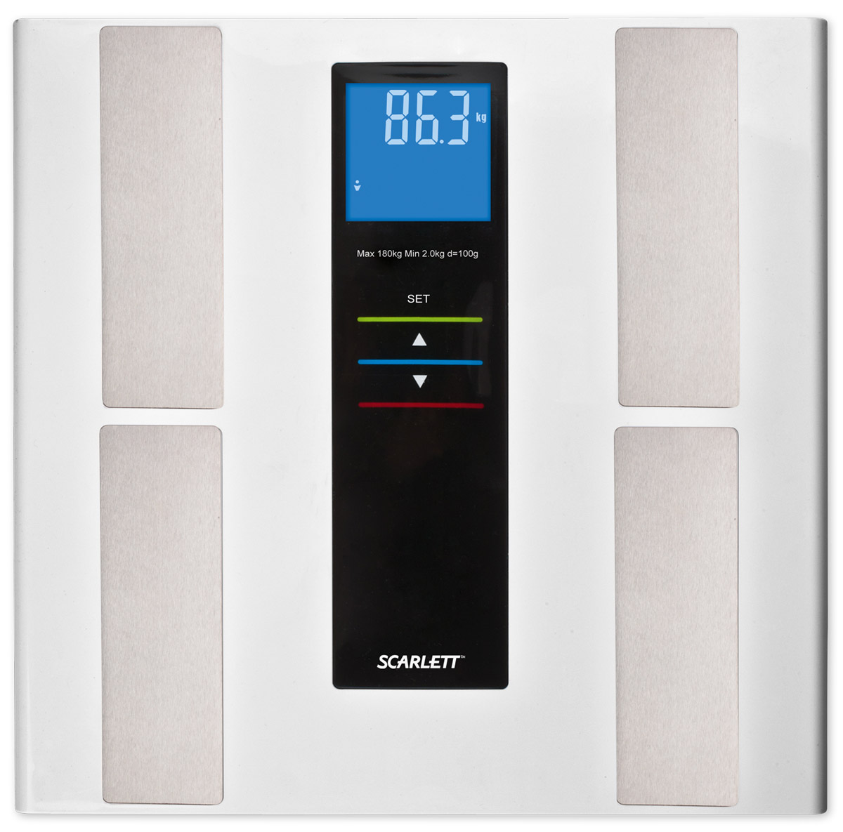 Scarlett SC-219, White напольные весыSC-219Напольные весы Scarlett SC-219 в корпусе из нержавеющей стали и закаленного стекла позволят ежедневно контролировать вес человеку, заботящемуся о здоровье и стройной фигуре. Модель выдерживает нагрузку до 180 кг и выводит на дисплей результаты в килограммах. Электронный дисплей оснащен хорошо видимыми подсвечивающимися символами. Устройство обладает объемом памяти на 10 пользователей, а кроме массы тела владелец весов получит информацию о доле жировой, мышечной и костной ткани, а также о содержании в организме воды.Индикатор перегрузкиИндикатор заряда батареиПрорезиненные ножкиВысокочувствительные датчики