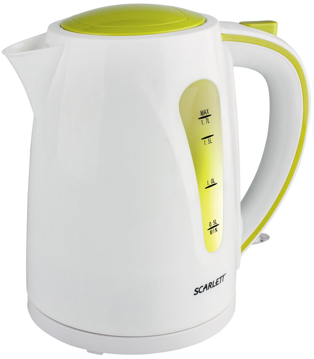 Scarlett SC-EK18P13 электрический чайникSC-EK18P13Электрический чайник Scarlett SC-EK18P13 сделан из термоустойчивого пластика, фильтр в носике препятствует попаданию накипи в воду. Благодаря мощности 2200 Вт чайник обеспечит очень быстрое вскипание.