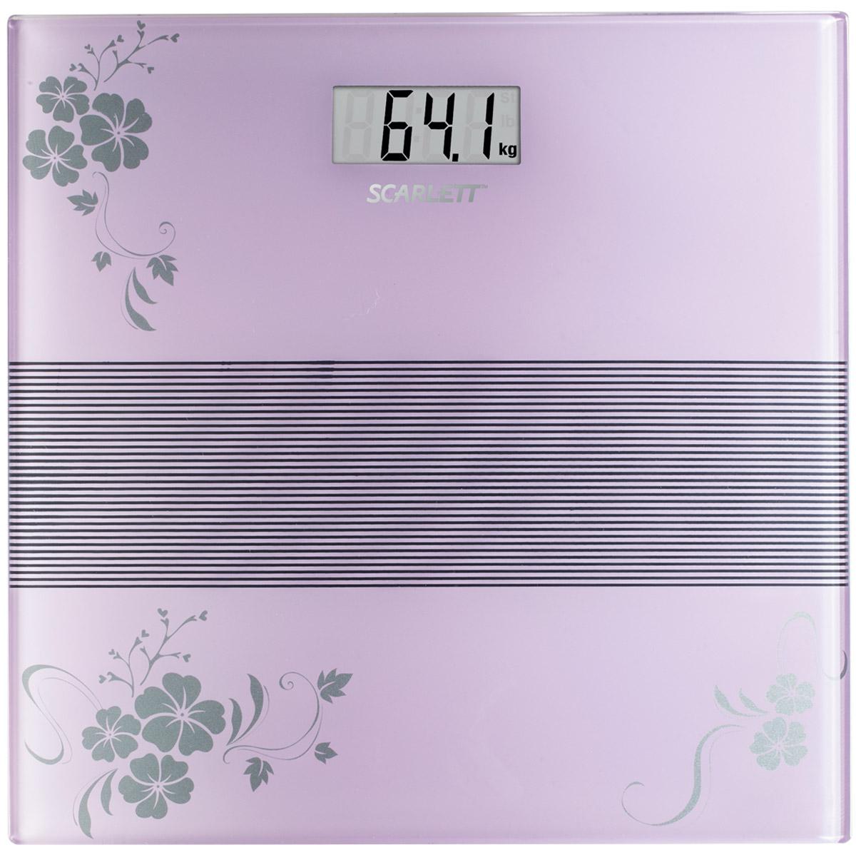 Scarlett SC-BS33E060, Violet весы напольные электронныеSC-BS33E060Напольные весы Scarlett SC-BS33E060 изготовлены из ударопрочного стекла и оформлены в сдержанном стиле. Весы имеют стандартную точность измерения, равную 100 грамм. Устройство измеряет массу тела в килограммах и работает от батарейки типа CR2032(1 шт). Электронный дисплей отображает большие цифры, которые можно будет увидеть с высоты человеческого роста. Также данная модель имеет прорезиненные ножки, для большей устойчивости.