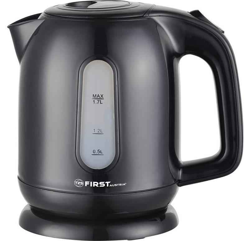 First FA-5427-5, Black чайник электрическийFA-5427-5 BlackЭлектрический чайник First FA-5427-5 прост в управлении и долговечен в использовании. Корпус выполнен из качественных материалов. Оснащен внутренней подсветкой корпуса. Мощность 2200 Вт быстро вскипятит 1,7 литра воды. Беспроводное соединение позволяет вращать чайник на подставке на 360°. Для обеспечения безопасности при повседневном использовании предусмотрены функция автовыключения, а также защита от включения при отсутствии воды.