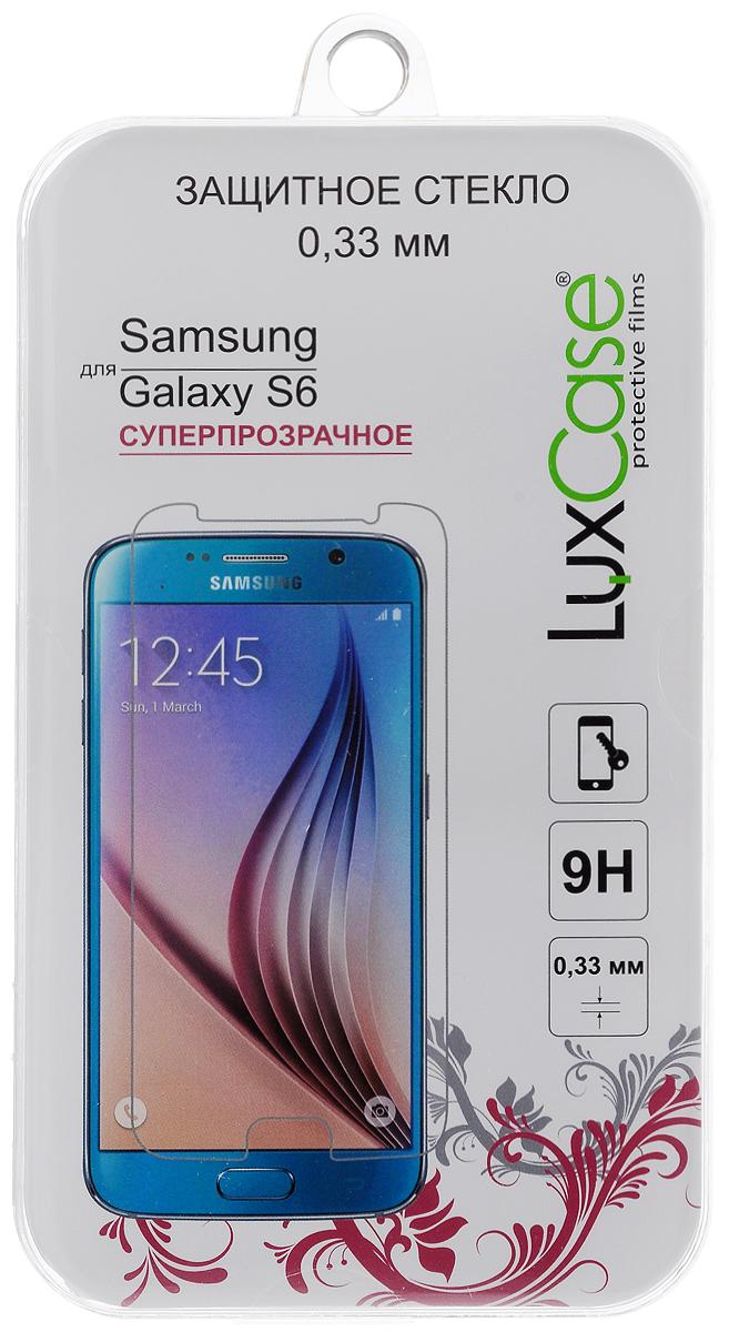 Luxcase защитное стекло для Samsung Galaxy S6, суперпрозрачное (0,33 мм)81405Защитное стекло LuxCase для Samsung Galaxy S6 обеспечивает надежную защиту сенсорного экрана устройства от большинства механических повреждений и сохраняет первоначальный вид дисплея, его цветопередачу и управляемость. В случае падения стекло амортизирует удар, позволяя сохранить экран целым и избежать дорогостоящего ремонта. Стекло обладает особой структурой, которая держится на экране без клея и сохраняет его чистым после удаления.