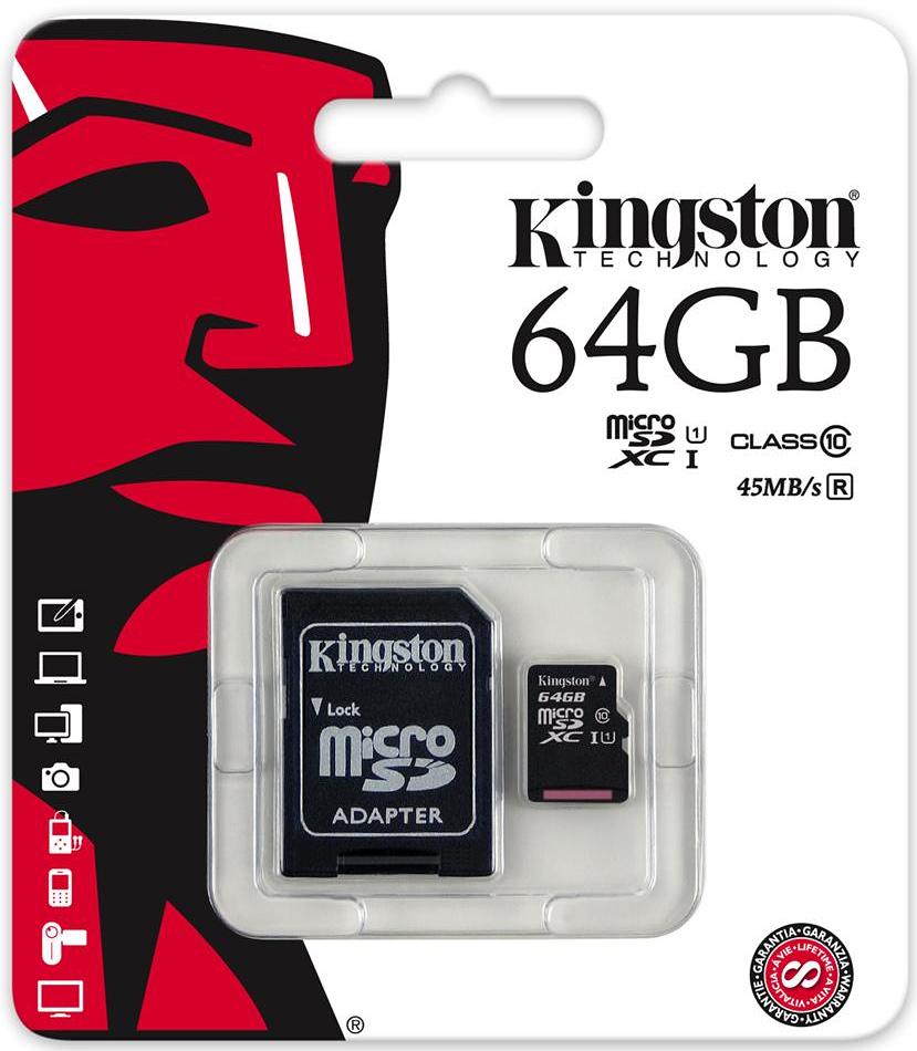 Kingston microSDXC Class 10 UHS-I 64GB карта памяти с адаптером (45/10 Мб/с)SDC10G2/64GBКарта памяти Kingston microSDXC Class 10 UHS-I поможет вам в увеличении объема памяти мобильных телефонов, смартфонов, планшетов и других портативных устройств. Данная модель имеет все основные защитные функции от Kingston: водонепроницаемый корпус, ударостойкость и виброустойчивость, защиту от рентгеновских аппаратов в аэропортах и экстремальных температур.