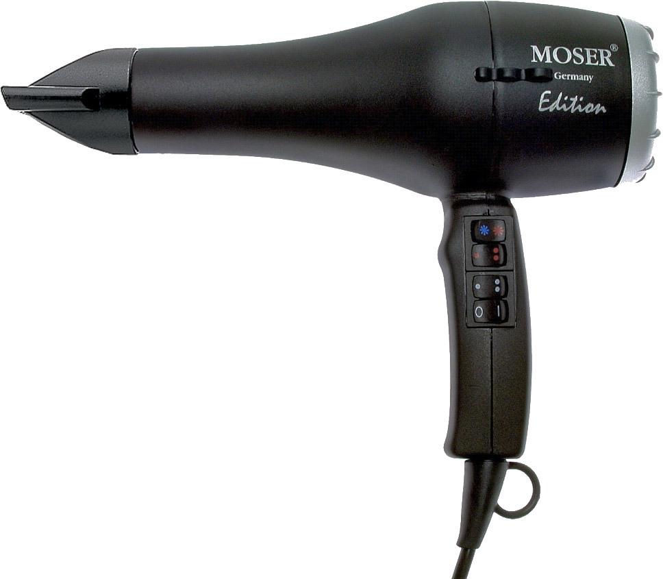 Moser Edition Pro, Black фен профессиональный4331-0050Профессиональный фен Moser Edition Pro - это фен для сушки, укладки и стайлинга волос. Данная модель не просто выделяется своим дизайном и высокой мощностью, но также оснащена специальной системой шумоподавления. Кроме того, фильтр фена, сделанный из нержавеющей стали, легко и удобно снимается при необходимости очистки. Материалом данной модели послужил прочный пластик, о чем говорит достаточно небольшой вес прибора. Для удобства хранения на кабеле присутствует петля для того, чтобы вы могли повесить фен там, где он всегда будет под рукой по необходимости, и не будет занимать лишнего места.