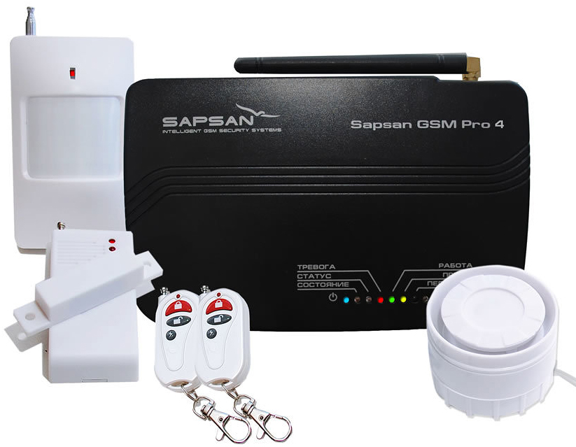 Sapsan GSM Pro 4 Эконом GSM-сигнализацияЭкономС помощью беспроводной системы Sapsan GSM Pro 4 Эконом вы сможете удаленно управлять системой через SMS-команды (постановка объекта на охрану, снятие объекта с охраны) или при помощи телефонного звонка на сим-карту, находящуюся в контрольной панели. Система Sapsan PRO 4 сама подскажет команды, которые Вы можете использовать. При срабатывании датчиков система отправит SMS сообщение на 3 номера и будет дозваниваться на пять указанных Вами номеров. Кроме того, можно дополнительно подключить как проводные так и беспроводные датчики., что даст универсальную возможность делать несколько контуров охраны. Например, дом - беспроводные датчики, улица - проводные датчики.Система позволяет дистанционно управлять 1 электрическим прибором, оснащенным кнопкой «вкл./выкл.». Например: свет, видеорегистраторы, сирены и многое другое, а так же использовать 3 зоны «всегда на охране», которые будут продолжать работать, даже при снятой с охраны системе сигнализации. В эти зоны входят: «тревожная кнопка», пожарные датчики, а также датчики утечки газа и воды. При срабатывании датчиков, вы получите моментальное sms-сообщение, с указанием сработавшей зоны.При отключении электричества система будет продолжать работать еще 12 часов и сохранит все настройки, даже если будет отключено внешнее питание. Система сообщает о возобновлении электропитания. Встроенный микрофон, дает возможность в любое время прослушать, что происходит в охраняемом помещении. А внешний проводной динамик - возможность общаться удаленно, позвонив с мобильного телефона на систему.Все SMS сообщения и команды - только на русском языке и в русском алфавите.Дистанционное управление системойВозможность подключить и контролировать беспроводные и проводные датчикиВозможность использовать 3 зоны «всегда на охране»Время работы от встроенного аккумулятора: до 12 часовВремя работы от Источника резервного питания Sapsan Power Shield (опция): до 1 неделиНапряжение встроенной батареи: 3,7 ВЧа
