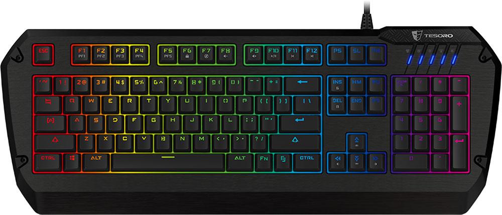 Tesoro Colada Evil Spectrum (Cherry MX Blue) игровая клавиатураTS-G3SFLTesoro Colada Evil Spectrum – это уникальная профессиональная клавиатура с металлическим корпусом и яркой полноцветной RGB-подсветкой. Она сочетает в себе все достоинства игровых клавиатур. Механические переключатели, прочность, встроенная память для полноценного программирования и полностью регулируемая подсветка - такого коктейля продвинутых фишек не было ещё ни в одном геймерском устройстве.В данной клавиатуре установлены переключатели Cherry MX Blue - выбор казуальных игроков и любителей активного общения. Чрезвычайно ускоряют набор текста. Имеют громкий щелчок и четкую отдачу.Клавиатура полностью локализована, обозначения на клавишах выполнены с помощью лазерной гравировки. Благодаря этому на клавиатуре подсвечиваются не только латинские, но и кириллические символы.