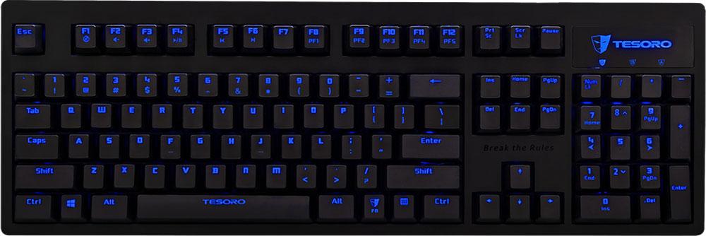 Tesoro Excalibur V2 (Kailh Blue) игровая клавиатураTS-G7NL-V2Тesoro Excalibur V2 – механическая клавиатура с рядом преимуществ, не доступных другим клавиатурам из аналогичной ценовой категории. С функцией N-Key Rollover ни одно действие не останется незарегистрированным. Приятная подсветка клавиатуры легко настраивается и позволяет пользователю подсвечивать как всю клавиатуру, так и только необходимые клавиши.Excalibur — первая клавиатура Tesoro, выполненная в исключительно строгом стиле. Ровные контуры корпуса сделают её подходящей и для игровой станции, и для рабочего места, а голубая подсветка сделает использование устройства комфортным в любое время суток.В данной клавиатуре установлены переключатели Kailh Blue - выбор казуальных игроков и любителей активного общения. Чрезвычайно ускоряют набор текста. Имеют громкий щелчок и четкую отдачу.