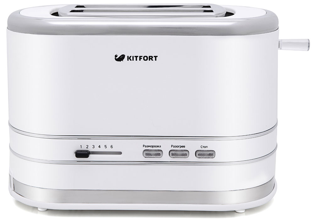 Kitfort КТ-2001-2, White тостерКТ-2001-2Электрический тостер Kitfort КТ-2001 создан для тех, кто любит полакомиться ароматным и хрустящим горячим поджаренным хлебом. Особый вкус и цвет корочки тостов получаются такими благодаря карамелизации сахара, содержащегося в муке, при инфракрасном нагреве в процессе приготовления.Снизу расположен выдвижной поддон для крошек, поэтому чистить тостер просто и удобно. На дне есть отсек для смотки шнура.Тостер Kitfort КТ-2001 предназначен для приготовления тостов в домашних условиях и может применяться в квартирах, загородных домах, клиентами в гостиничных номерах, бытовых помещениях магазинов, офисов и т.п. для некоммерческой эксплуатации.
